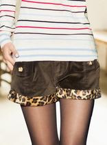 豹紋翻邊加絨短褲