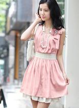 2013春夏新款 韓版雙層荷葉雪紡修身連衣裙 活動期間送搭配胸花+項鏈