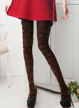 DELUXSEY 羊毛混紡雪花針織連襪打底褲 女士春秋冬季提花加厚修身連褲襪