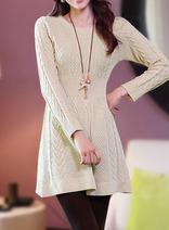 韓版時尚編織修身顯瘦毛衣裙