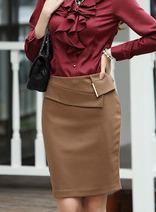 韓版純色修身包臀一步裙 秋冬新款OL通勤半身裙 百搭職業裝