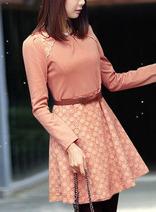 粉色層搭蕾絲修身連衣裙 秋冬韓版甜美淑女氣質打底裙 送搭配腰帶