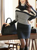 韓國條紋時尚蝙蝠袖高領毛衣裙