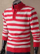 DELUXSEY 條紋立領大碼毛衣 男士秋冬季新款韓版針織衫 時尚型男氣質