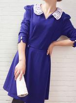 DELUXSEY 七分袖娃娃領連衣裙 秋冬款韓版大碼修身打底裙 藍綠2色