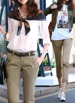 DELUXSEY 純色3D顯瘦小腳九分褲 女春秋季通勤白領氣質 卡其純白藍3色可選