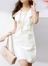 DELUXSEY 純美荷葉邊S型曲線連衣裙 夏季無袖圓領修身短裙 優雅淑女氣質