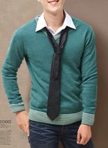 DELUXSEY 男士V領套頭羊毛衫 秋冬季時尚休閑毛衣 多色可選