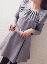 DELUXSEY 秋冬羊毛呢修身顯瘦連衣裙